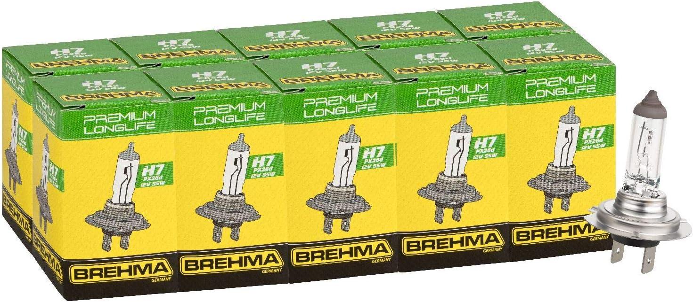 Brehma 90369 10x Premium Longlife H7 Halogen Autolampe 12v 55w E1 Auto