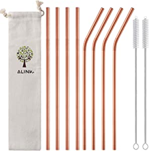 """ALINK 10.5"""" Long Reusable Rose Gold Metal Drinking Straws with Silicone Covers, 8-Pack Stainless Steel Straws for 30oz / 20oz Yeti/Rtic Tumblers with Cleaning Brush and Carrying Case"""