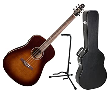 Seagull S6 Original Burnt Umber QIT Acoustic Electric Guitar W Hard Case And Stand