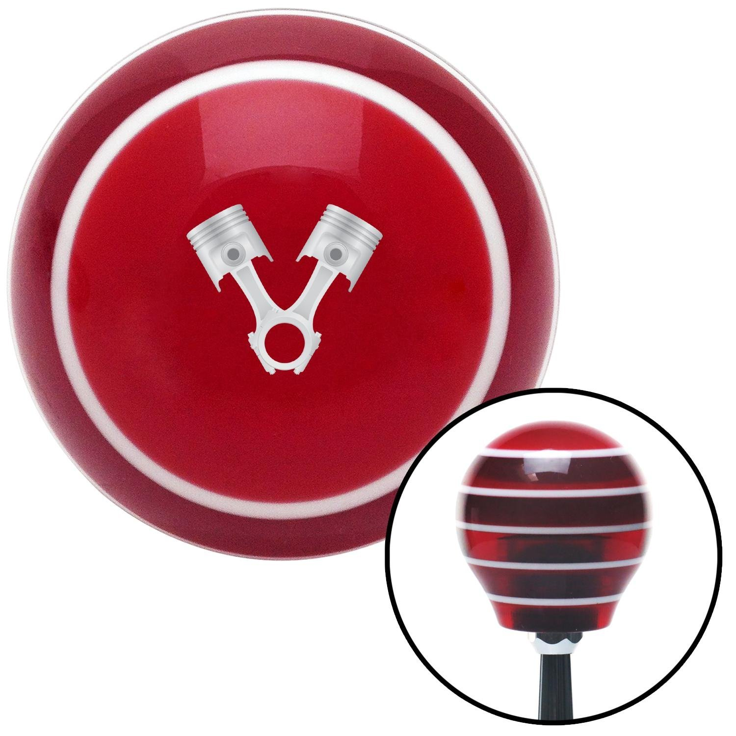 American Shifter 274076 Shift Knob Pistons Metal Red Stripe with M16 x 1.5 Insert