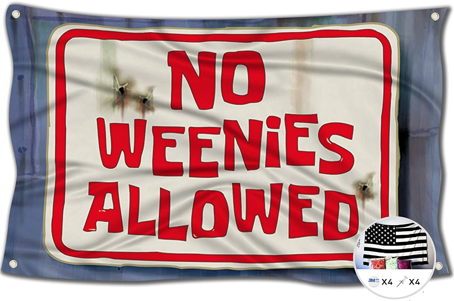 No Weenies Allowed Flag Sponge Bob Tries to Get into The Salty Spitoon 3x5 Feet Banner,Funny Poster UV Resistance Fading & Durable Man Cave Wall Flag for College Dorm Room Decor,Parties,Gift