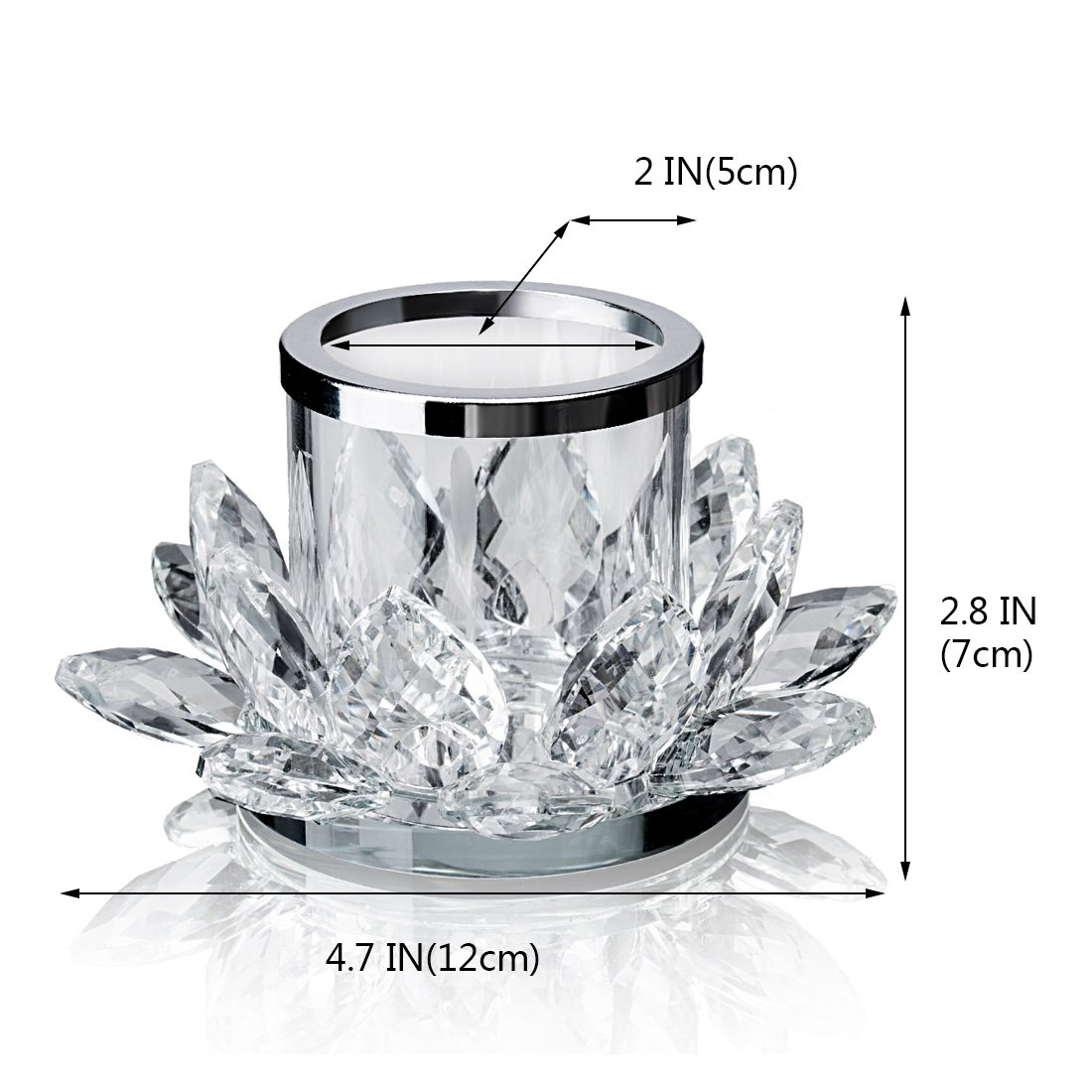 Clear Lotus Flower Candle Tealight Holder Candlestick,Set of 2