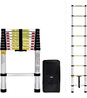 Todeco - Escalera Telescópica, Escalera Plegable - Carga máxima: 150 kg - Estándar/Certificación: EN131 - 3,8 Metro(s), Barra estabilizadora, Bolsa de transporte GRATIS, EN 131: Amazon.es: Bricolaje y herramientas