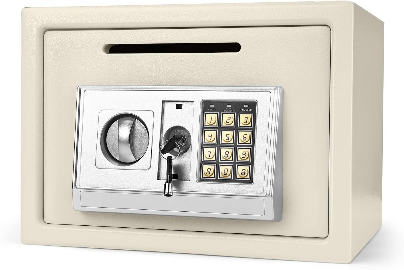 """Flexzion Electronic Depository Safe Box with Drop Slot Posting Opening - Digital Keypad Combination Lock Security Cabinet for Home Office Money Documents Gun Cash Deposit Hotel