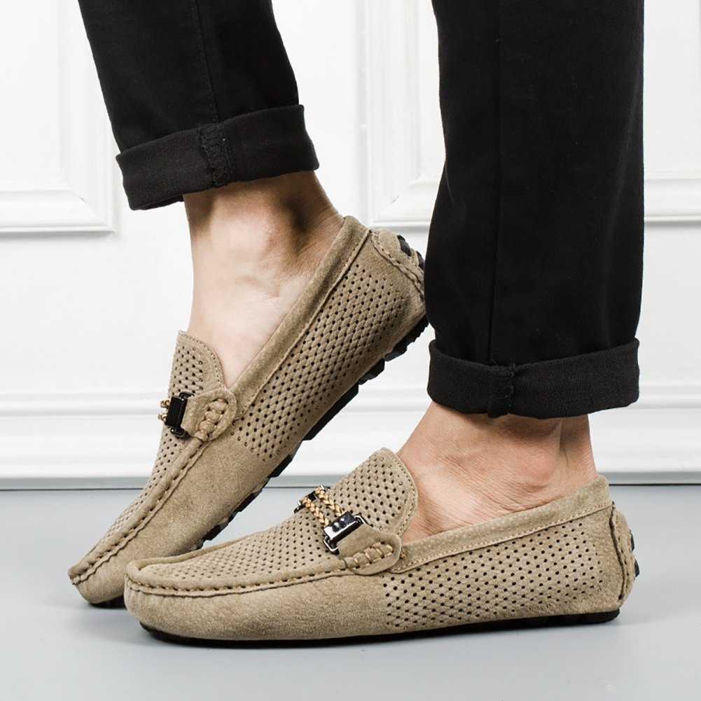 Freizeit dünne Sommer Schuhe Ausschnitt Design Business Sommer dünne Sandalen Gentleman Breathe frei Mann Lederschuhe (Farbe : Khaki, größe : 43) - a3529d