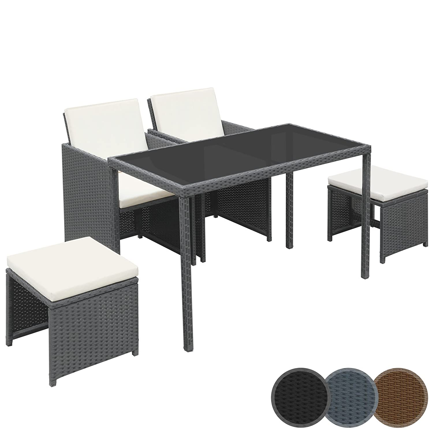 miadomodo polyrattan essgruppe sitzgruppe gartenm bel 5 teilig in der farbe nach ihrer wahl g nstig. Black Bedroom Furniture Sets. Home Design Ideas