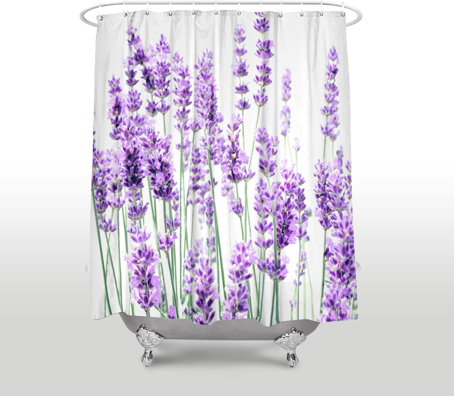 "72X72/""  Romantic Lavender Purple Shower Curtain Set Waterproof Fabric Polyester"