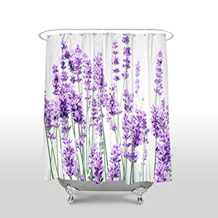 Z L Home Shower Curtains Purple Decor Lavender Plants Floral Waterproof Polyester Fabric Bathroom Curtain Sets With Hooks
