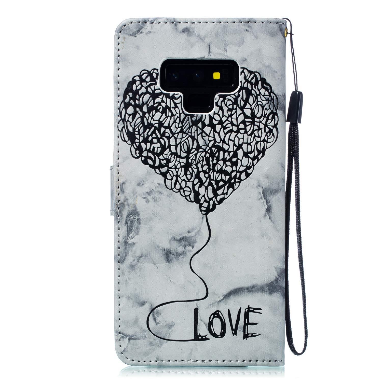 Housse de t/él/éphone pour Samsung Galaxy Note 9 Coque PU Premium,Uposao Pochette Portefeuille en Cuir Coque de Protection Stand Support Magnetique etui Rabat avec 3D effet Motif Amour Flip Case Cover