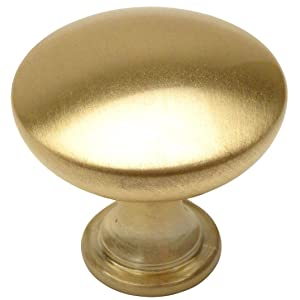 "25 Pack - Cosmas 5305BB Brushed Brass Traditional Round Solid Cabinet Hardware Knob - 1-1/4"" Diameter"