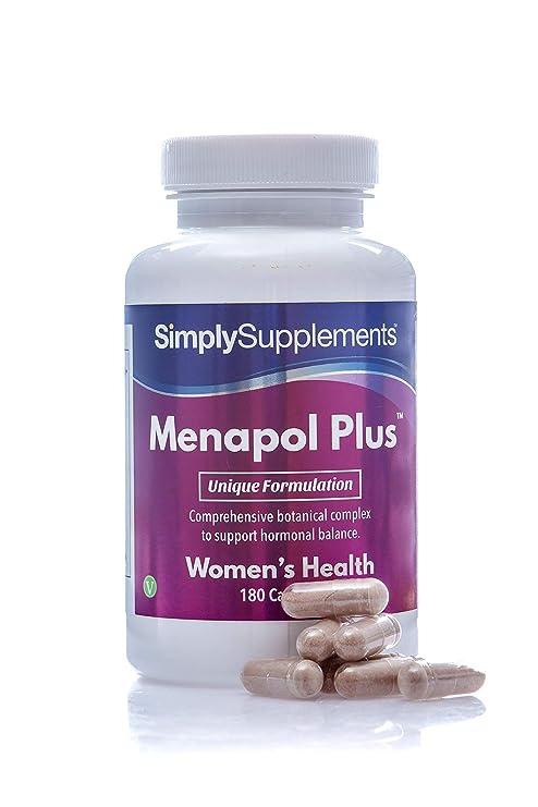 Menapol Plus - Para la menopausia - ¡Bote para 6 meses! - Apto para veganos - 360 cápsulas - SimplySupplements: Amazon.es: Salud y cuidado personal