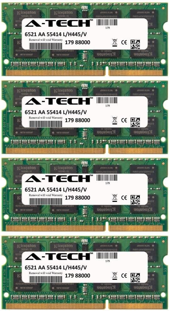 A-Tech 32GB KIT (4 x 8GB) For Dell Precision Notebook Series Mobile Workstation M4600 Mobile Workstation M6500 (Quad Core) Mobile Workstation M6600 (. SO-DIMM DDR3 NON-ECC PC3-10600 1333MHz RAM Memory