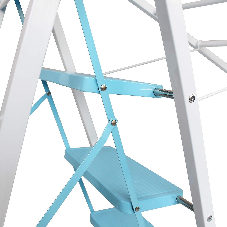 Sotech - Escalera multifuncional del hogar, Escalera de lavandería, 5 niveles, Altura 188 cm, Blanzo/Azul, Tamaño desplegado (Tendedero): 188 x 105 x 50 cm, Tamaño desplegado (Escala): 123 x 86 x 50 cm: Amazon.es: Hogar