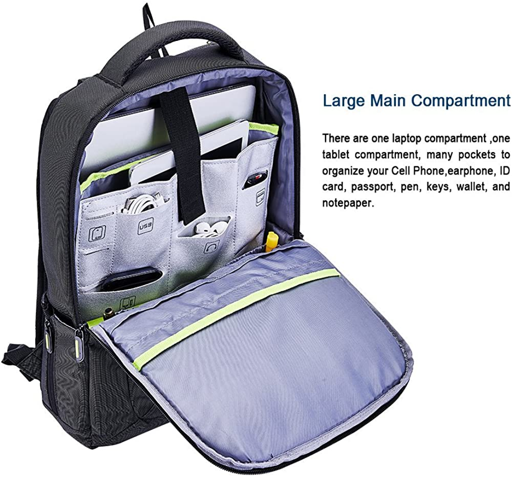 Slim Laptop Backpack, Anti Theft Durable Travel Business Backpack, Water Resistant College School Computer Bag for Women and Men, Lightweight Student Daypack Fits 15.6 Inch Laptop Notebook