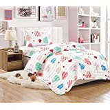 Kids Compressed 3Piece Comforter Set, Single Size, White Hearts