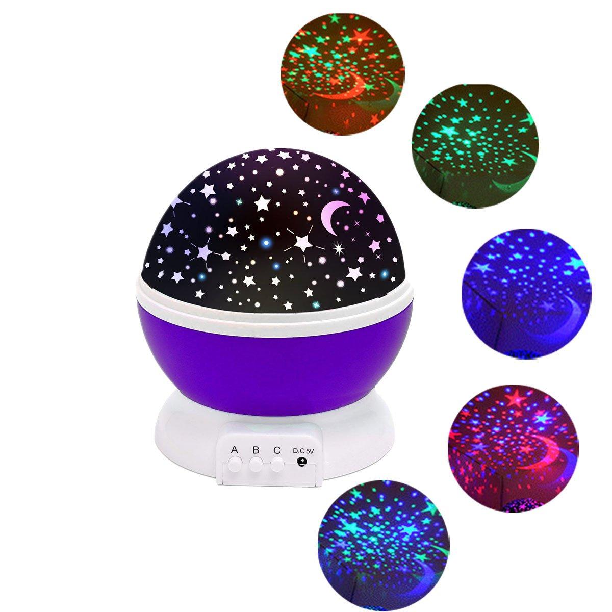 Star lighting Lamp SOLMORE 4 LED beads 360 Degree Romantic Lamp Relaxing Mood Light Baby Nursery Bedroom Children Room Christmas Gift Purple