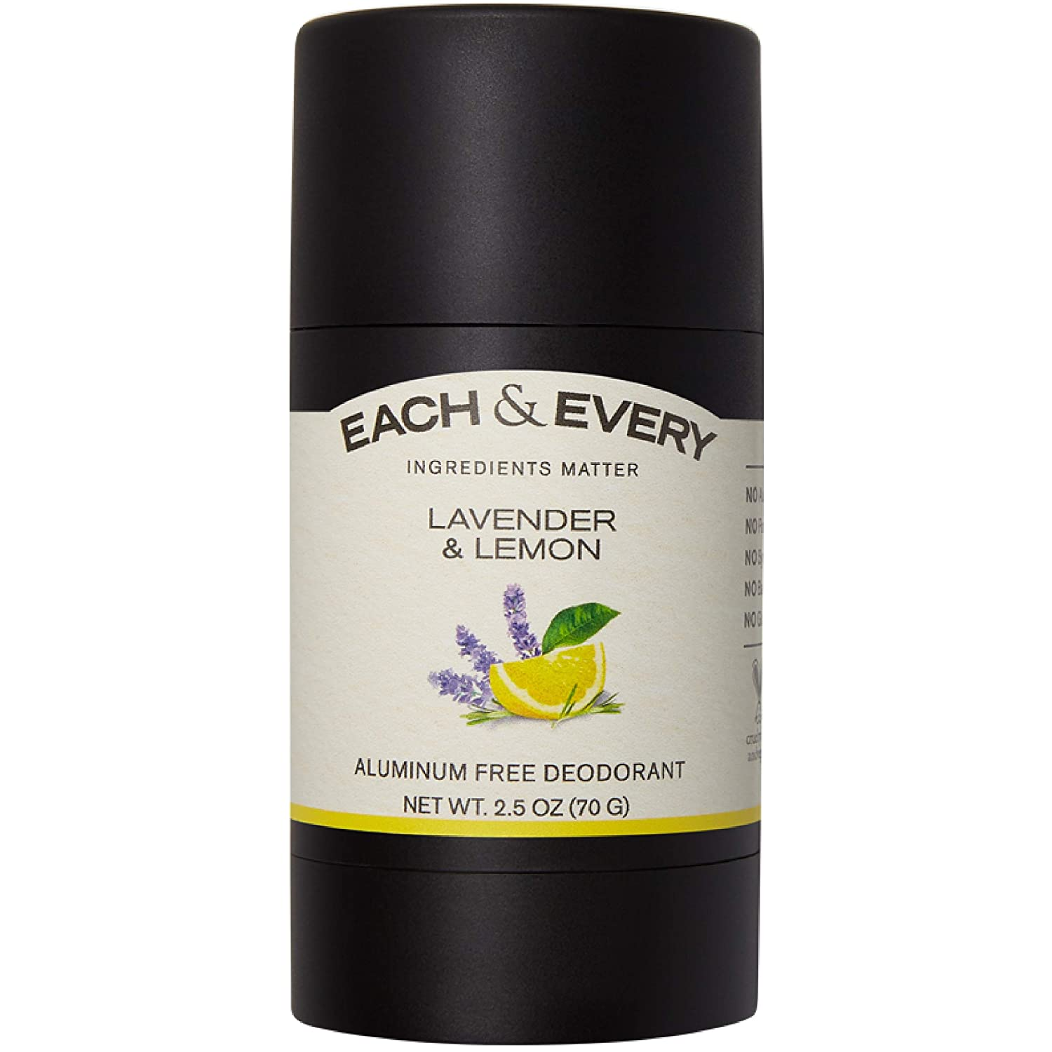 Each & Every All Natural Aluminum Free Deodorant for Women and Men, Cruelty Free Vegan Deodorant with Essential Oils, Non-Toxic, Paraben Free, Lavender Lemon, 2.5 Oz.