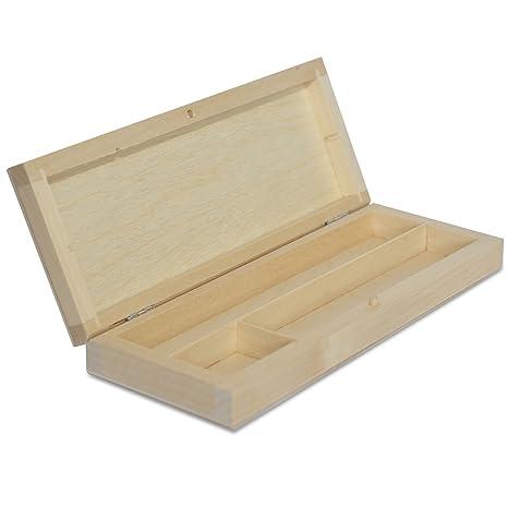 Estuche Madera | 3 Compartimentos | 22 x 8,5 x 3 cm | Caja con Tapa para Deocrar y Decoupage | Organizador Arte y Artesanía Bolígrafos Lápices Cauchos ...