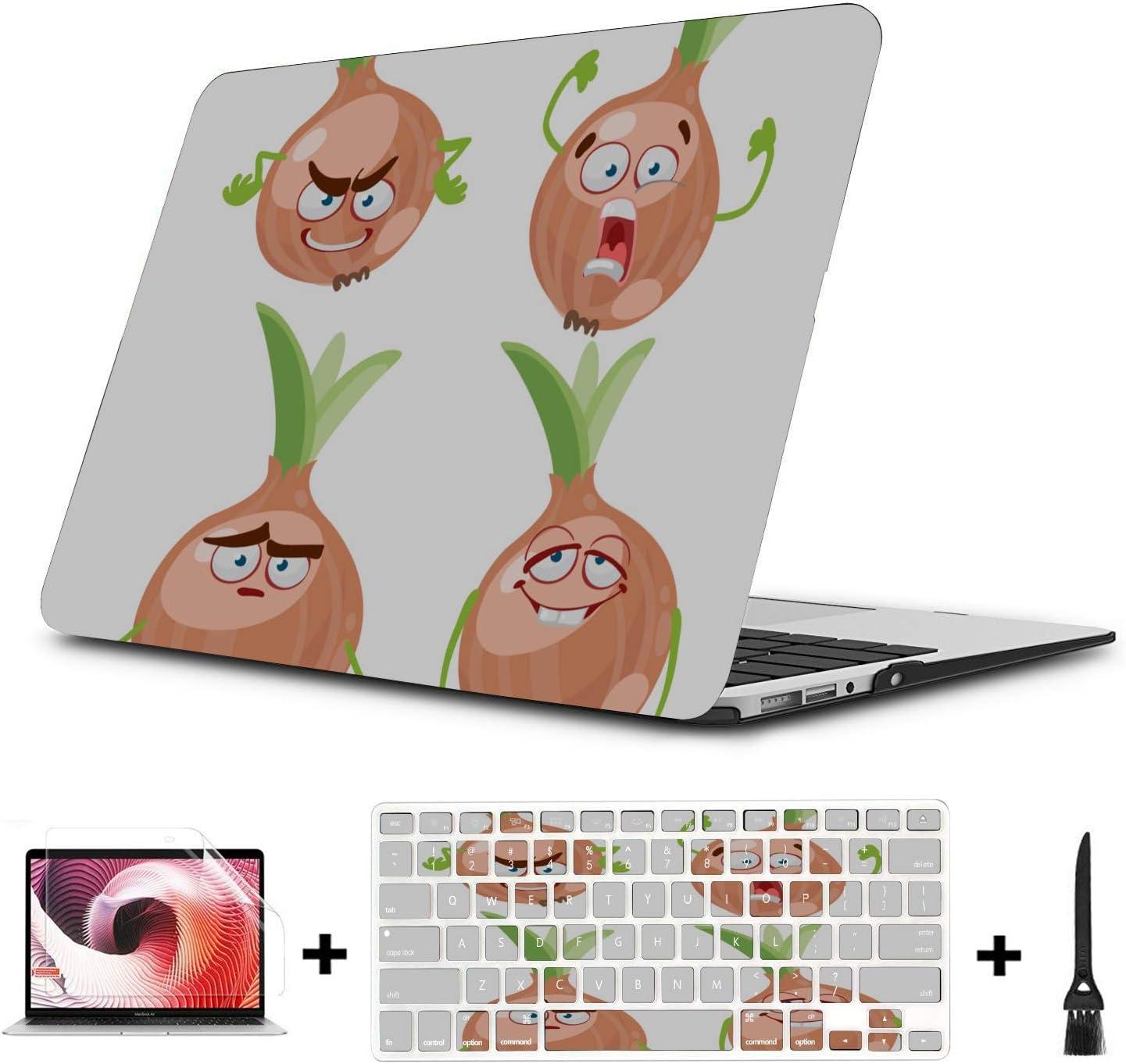 MacBook Air Computer Case Cartoon Smiling Onion Vegetables Plastic Hard Shell Compatible Mac Air 11 Pro 13 15 MacBook Air A1466 Case Protection for MacBook 2016-2019 Version