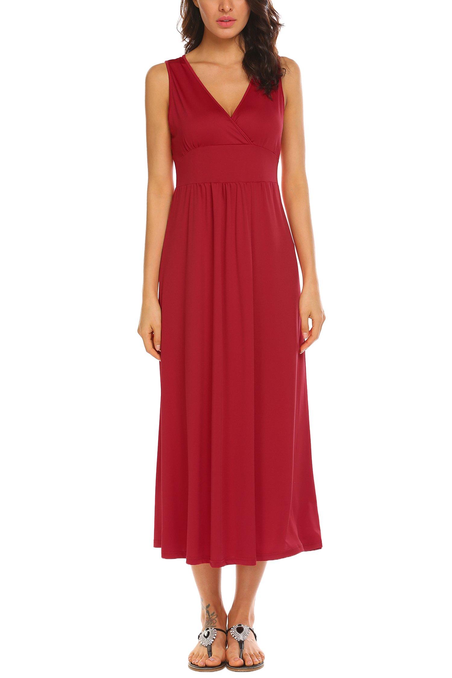 Funpor Women's Sleeveless V Neck Ruched Waist Long Maxi Dress