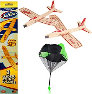 product image for Balsa Wood Glider Airplane with Parachute Man Jetfire Twin Pack Party Set of 3
