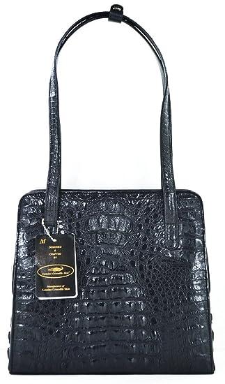 38cb9d67dd920 Authentic M Crocodile Skin Womens Genuine Hornback Crocodile Leather  Shoulder Bag Tote Handbag (Black)
