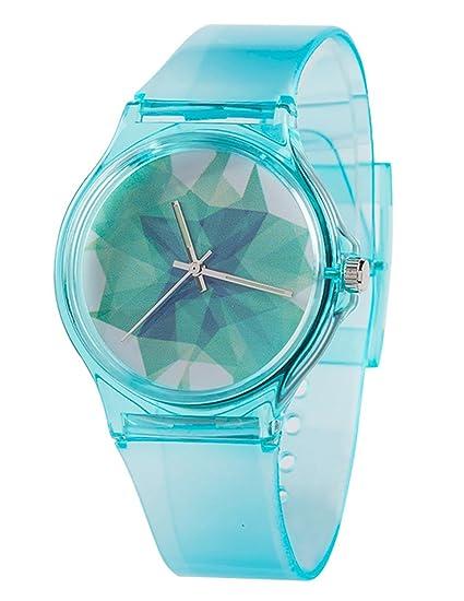 Tonnier Azul Translúcido Resina Estudiante Relojes de Banda para  Adolescentes Chicas jóvenes Relojes Hielo Crack 56b2dc47985c