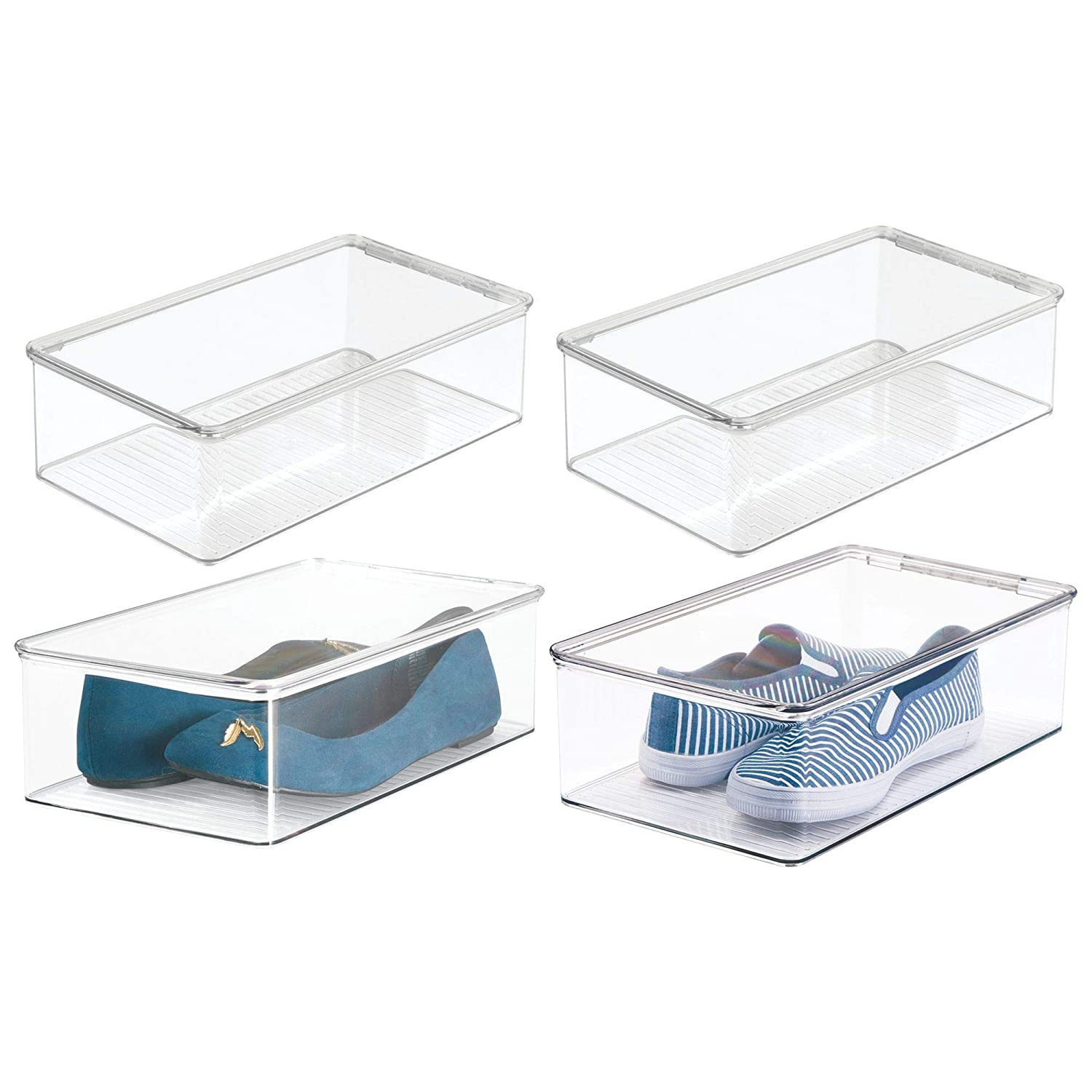 mDesign Stackable Plastic Closet Shelf Shoe Storage Organizer Box with Lid for Mens, Womens, Kids Sandals, Flats, Sneakers - 4 Pack - Clear