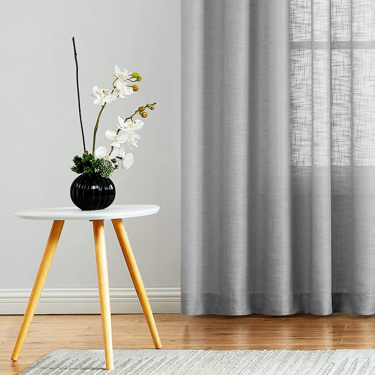 Fmfunctex Semi-Sheer Curtains for Living Room Soft Grey 108-inches Extra Long Rich Linen Texture Weave Solid Sheer Drapes for Hotel Bedroom Windows Wrinkle Free 52 w 2 Panels Rod Pocket