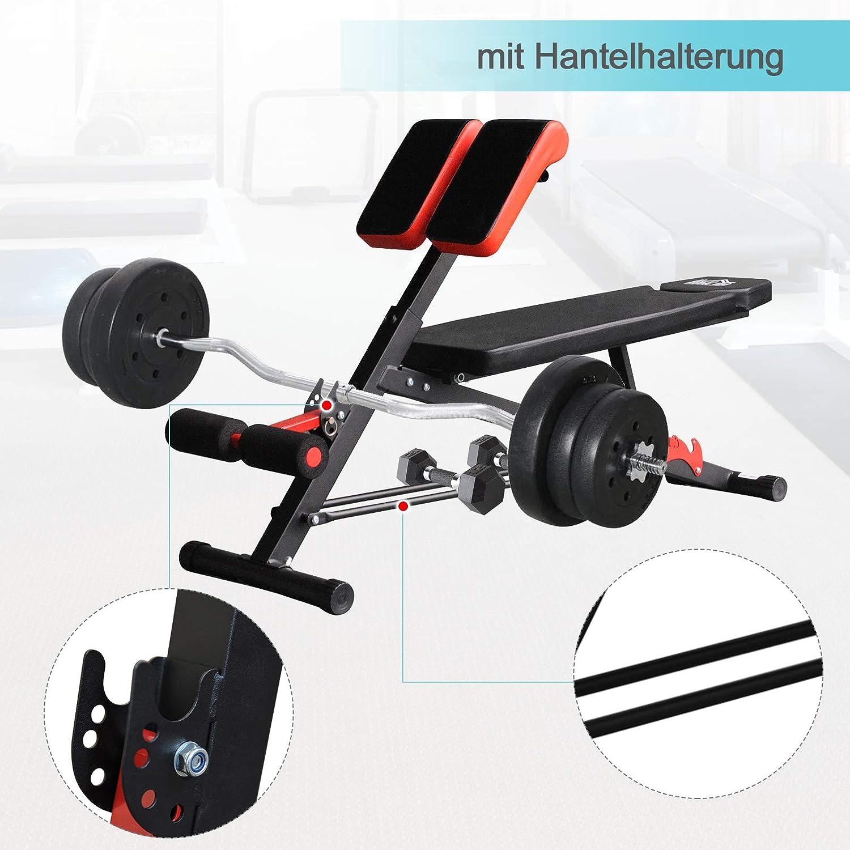 HOMCOM Hantelbank Fitnessbank Schrägbank Multifunktion Bauchtrainer Edelstahl