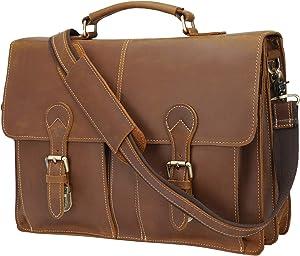 "Polare 16"" Vintage Full Grain Leather Messenger Bag Laptop Briefcase Bag with Premium YKK Zippers"