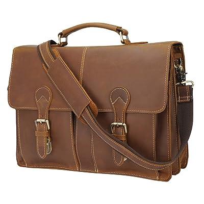 """Polare 16"""" Vintage Full Grain Leather Messenger Bag Laptop Briefcase Bag"""