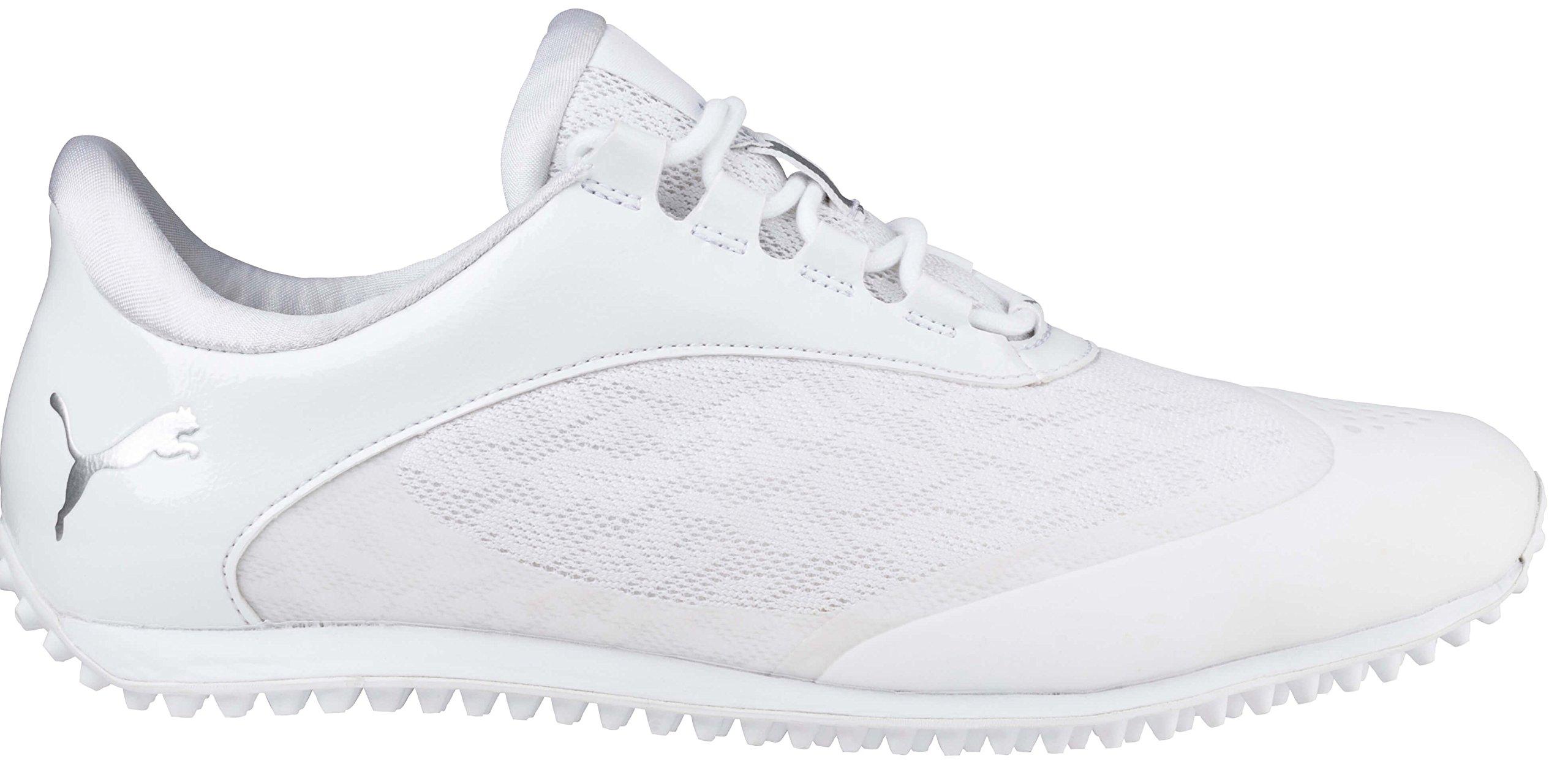 PUMA Golf Women's Summercat Sport Golf Shoe, White/Silver/High Rise, 5.5 Medium US
