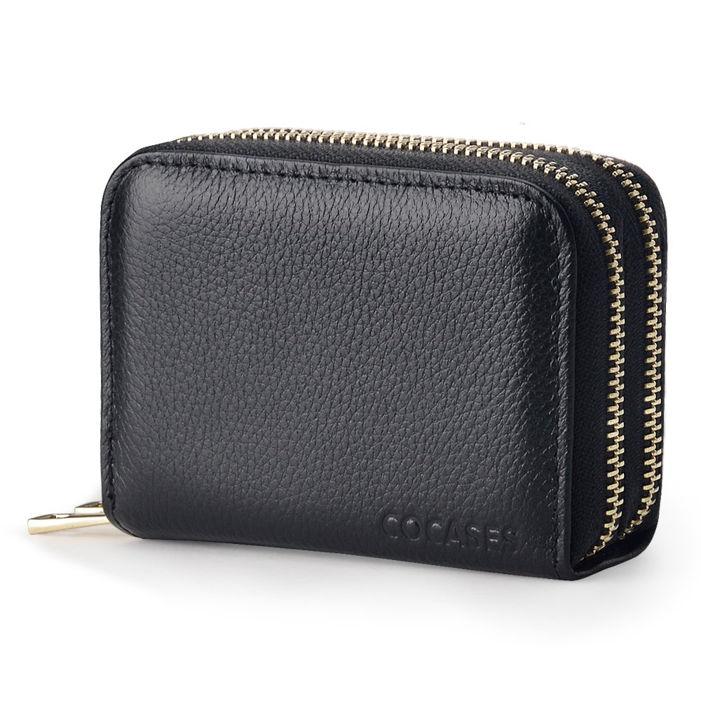Women Credit Card Wallet, COCASES RFID Blocking Genuine Leather Double Zipper Coin Purse (Black)