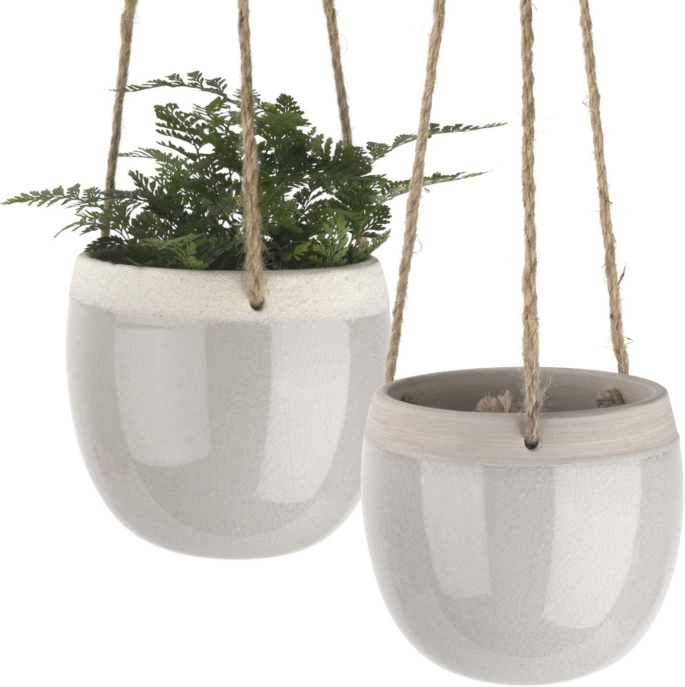 Ceramic Hanging Planters Indoors - 5.5 Inch Hanging Plant Pots, Modern Plant Holder with Jute Rope for Succulents Cactus Herbs Small Plants, Home Decor Gift, Set of 2 (Light Grey)