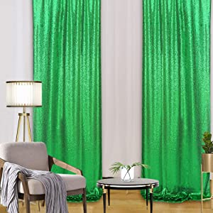 B-COOL Sequin Backdrop 2Pack 2ftx8ft Glitter Background Green Sparkly Photo Booth Curtain Holiday Party Background Panels