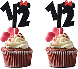 24 Pieces Mickey 1/2 Half Birthday Cupcake Topper,Disney 6 Months Half Year Birthday Food Picks for Baby Shower Party Decorations
