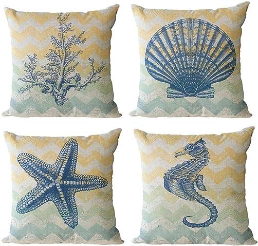 ULOVE LOVE YOURSELF Beach Pillow Covers 4 Pack Cotton Linen Nautical Throw Pillowcases Sea Theme Coastal Cushion Cover 18 x 18 inch Sea-3