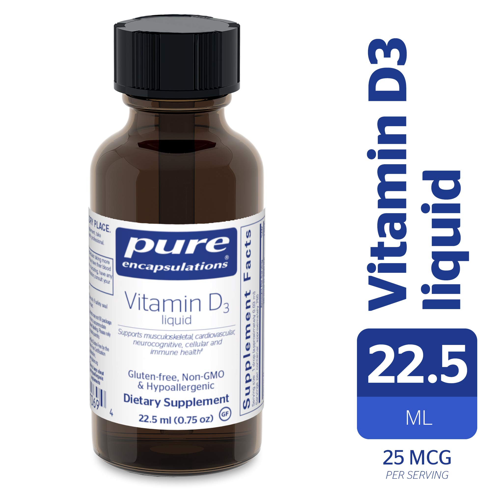 Pure Encapsulations - Vitamin D3 Liquid - Hypoallergenic Support for Bone, Breast, Prostate, Cardiovascular, Colon and Immune Health* - 22.5 ml (0.75 fl oz) by Pure Encapsulations