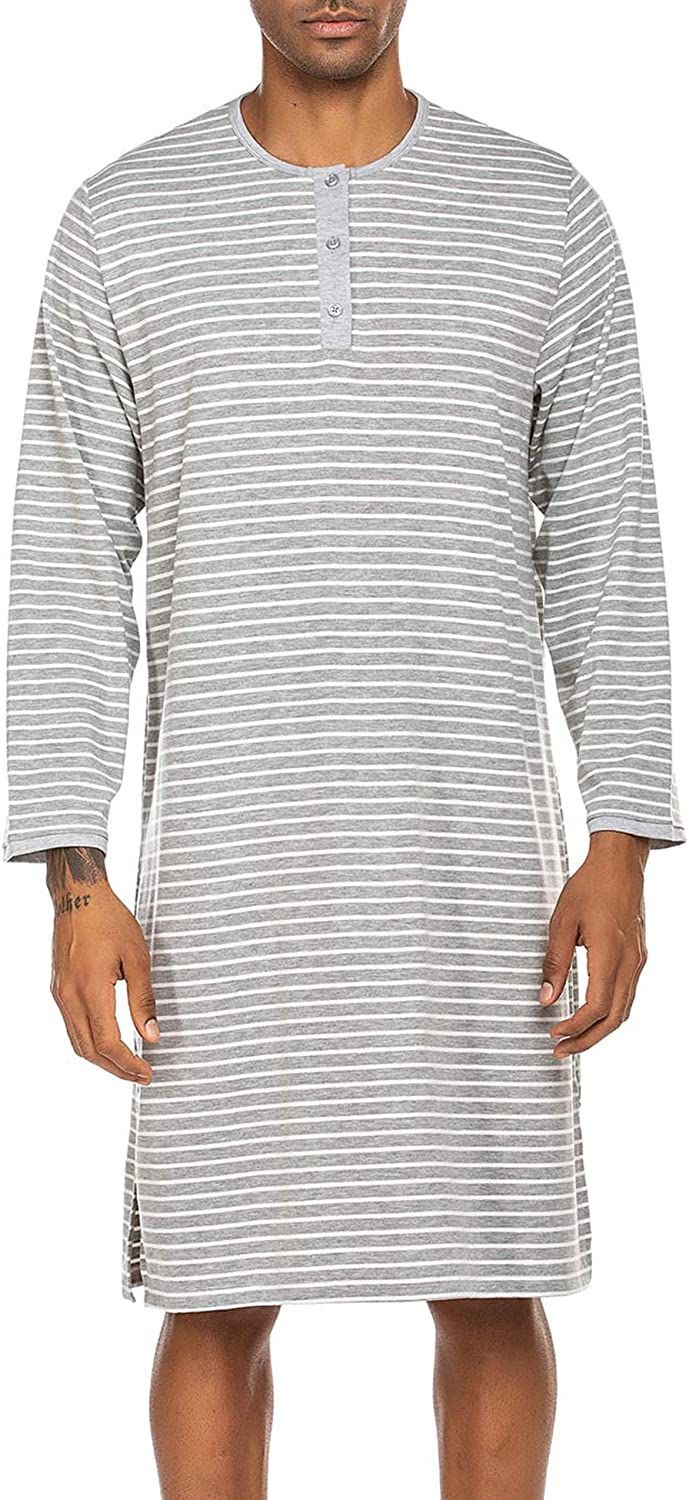 Ekouaer Men's Night Sleep Shirts Comfy Long Sleeve Mid-Length Nightgown Loose Striped Nightshirts S-XXL