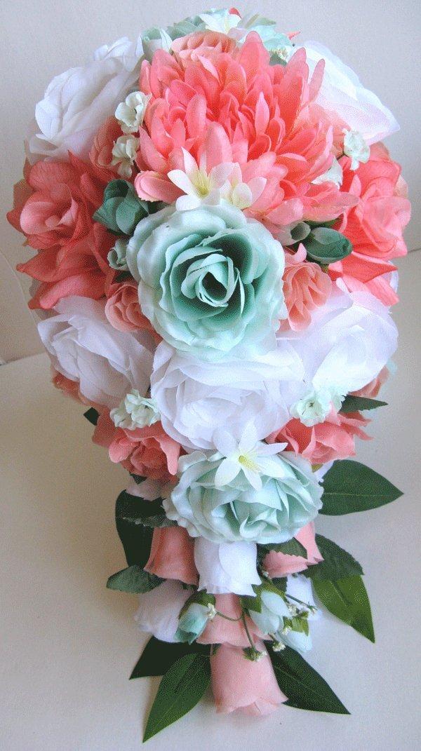 Amazon.com: 17 Pieces Package Wedding Bouquet Bridal Silk flower ...