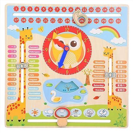 Calendario Legno Bambini.Haofy Educativo Orologio Giocattolo Di Legno Bambini Data