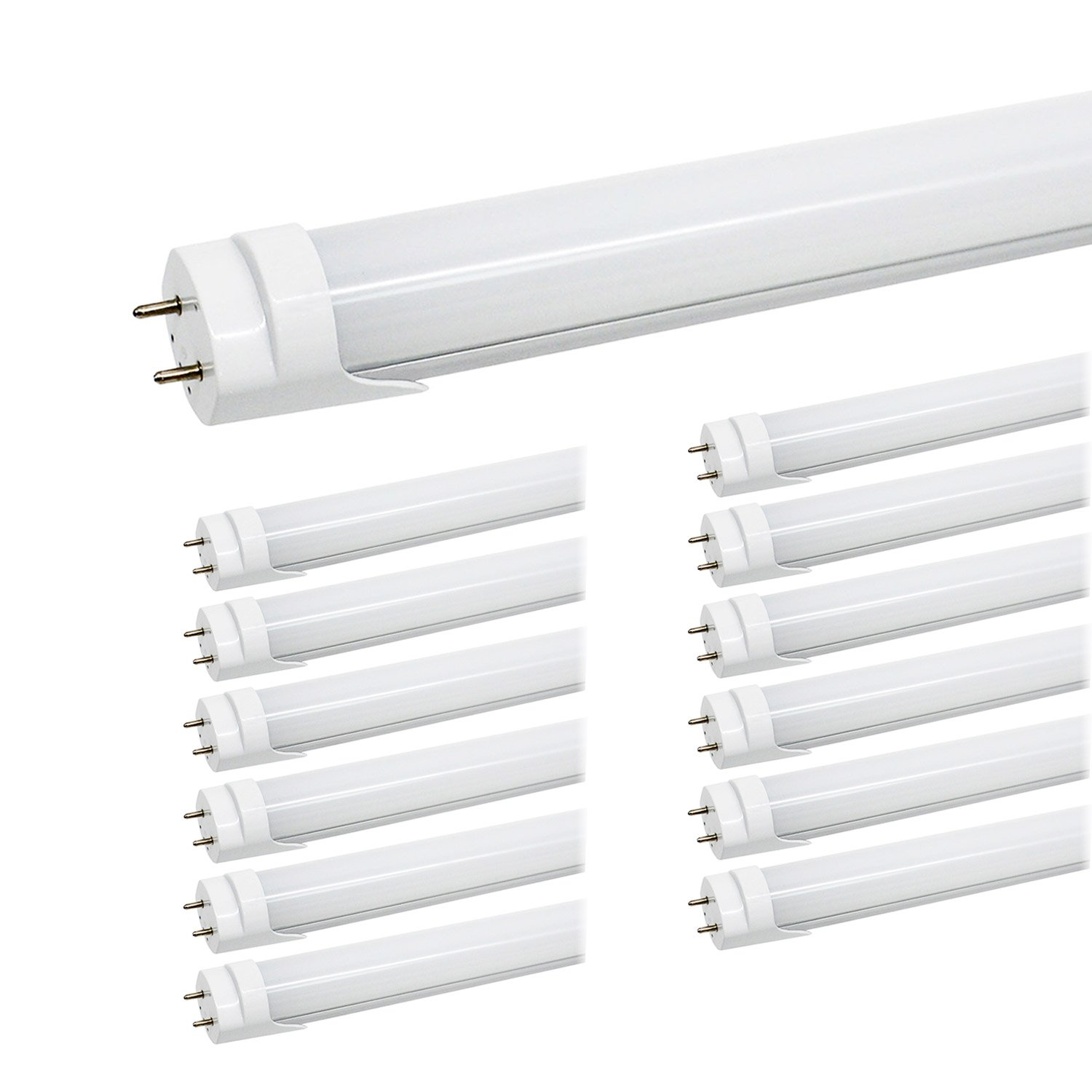 JESLED 4FT T8 LED Bulbs - 24W 5000K Daylight, 3000LM, T10 T12 Fluorescent Tube Light Replacement, Double Row 192LEDs, Frosted, Dual-end Powered, Ballast Bypass, Garage Warehouse Shop Lights (12-Pack)