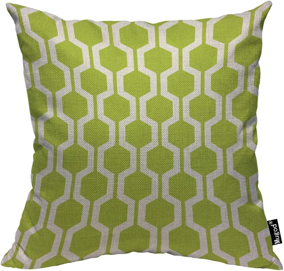 Chartreuse Green Hex pattern throw pillow
