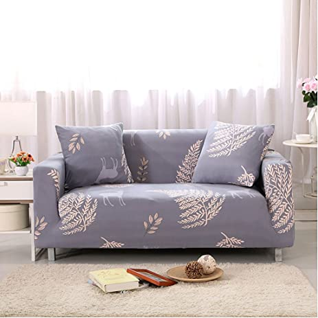 Bon AmyOKeefe Deer Sofa Covers 1 Piece Polyester Spandex Fabric Slipcover (Sofa,  Purple Gray