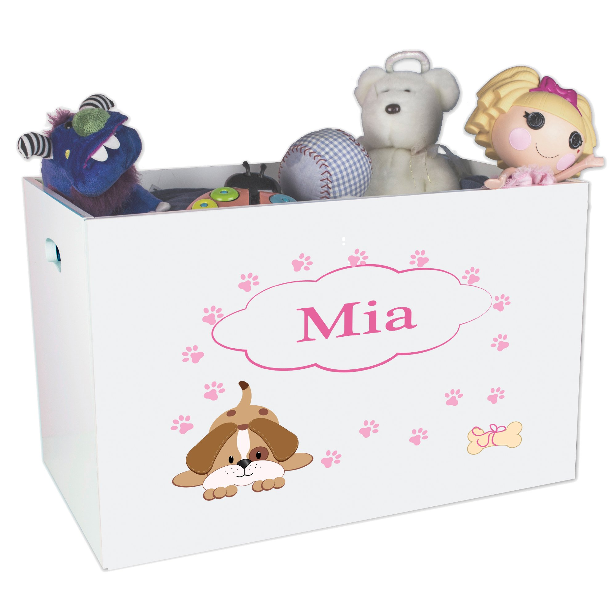 Personalized Puppy Childrens Nursery White Open Toy Box