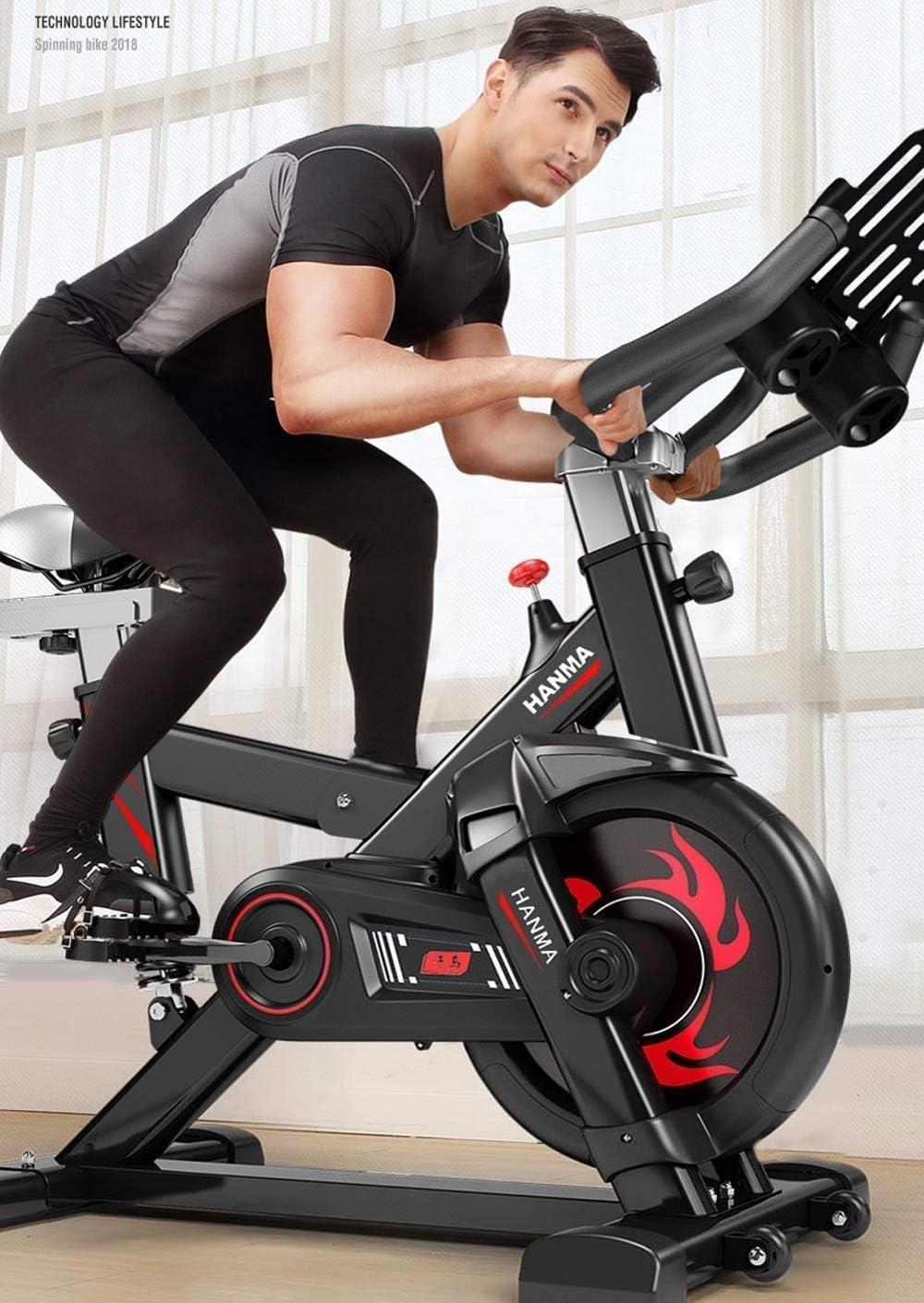 Bicicleta de ejercicio profesional para interiores - Inicio Unisex Pérdida de peso Abdominal Fitness Rueda fría Pedal antideslizante Protección de seguridad Volante multifunción Bicicleta deportiva: Amazon.es: Deportes y aire libre