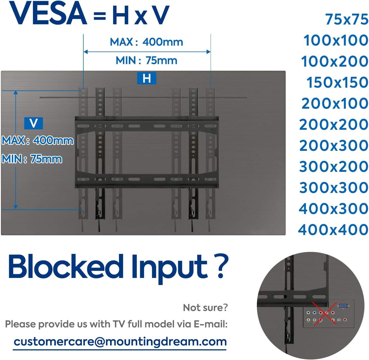 Mounting Dream Soporte de Pared de TV Fijo Soporte de Televisión para la Mayoría de los 26-55 Pulgadas LED, LCD, OLED y Plasma TVs con VESA 75x75-400x400mm hasta 45,5kg, MD2361-K-02, Negro: Amazon.es: