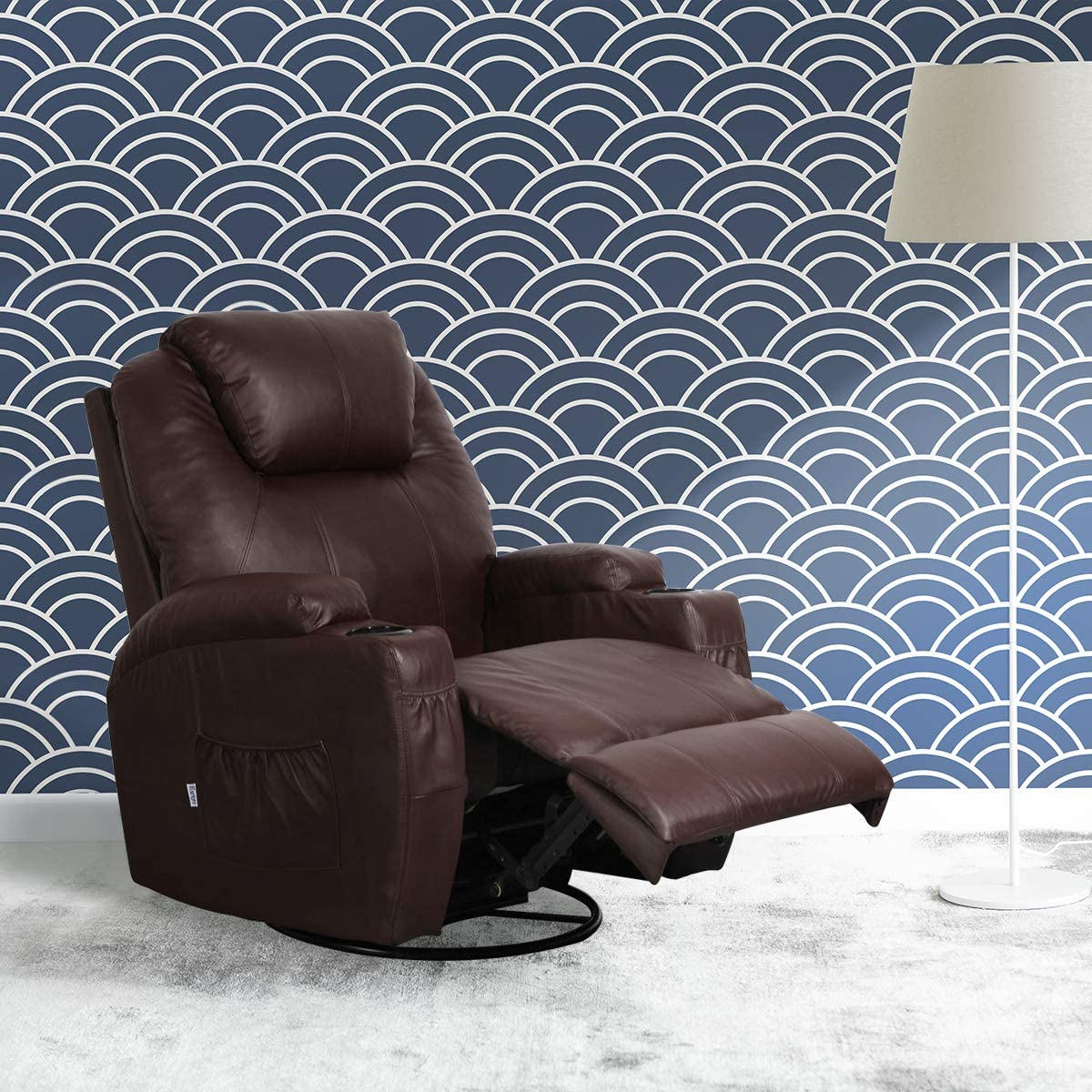 Aclumsy Massage Recliner Chair 360 Degree Swivel Heated PU Leather Ergonomic Lounge with Remote Control,Brown