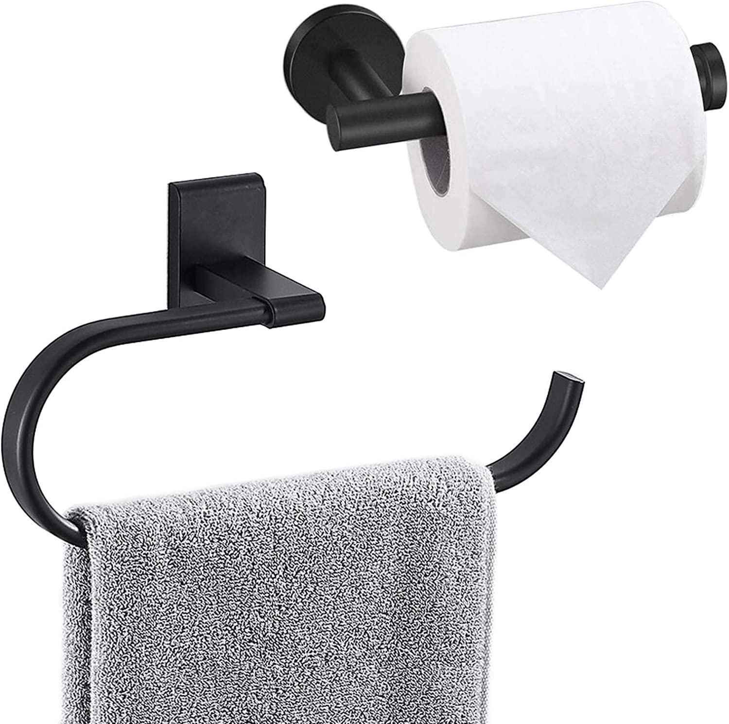 Amazon Com Bathroom Hardware Set 2 Piece Matte Black Towel Ring And Toilet Paper Holder Space Aluminum Bathroom Accessories Set For Bathroom Wall Mounted Bath Hardware Home Kitchen